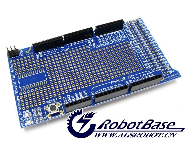 奥松机器人推出的Arduino MEGA ProtoShield V3 原型扩展板,采用PCB沉金工艺加工,主板金色方形焊盘间距小,焊接元件更方便;SOP28贴片元件封装,使Arduino电子爱好者更加得心应手,不会被直插元件所束缚;此板不仅可以无缝插接到Arduino MEGA控制器上,直接将元件焊接到上面,完成各种原型电路,还可以粘贴Mini面包板,通过7彩跳线完成各种电路实验,板子集成电源指示灯和状态指示灯,以及复位按键,轻松学习Arduino MEGA控制器选择的原型扩展板。