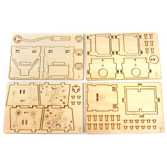 三叶草diy手工制作 木质拼装模型