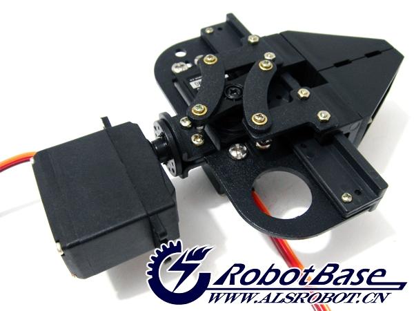 二自由度机械臂夹持器,是哈尔滨奥松机器人科技有限公司推出的新一代两舵机夹持器,它综合了国内外同类夹持器的优点,并进行了创造性的改进。支持单夹持和夹持+手腕旋转两种工作方式。 夹持器采用了混合式材质。其基体为、舵臂、滑轨、滑块和夹爪采用了加厚具有加强筋构造的进口优质工程塑料,整体强度和刚性很高,造型美观且经久耐用。 夹持器平行夹持更易于定位被夹持物体。它具有更大的开距、夹持物体形状的广泛性(可夹方形、圆柱形、球体、锥体等)、可扩展性(两爪面有四个安装孔,可安装薄膜式压力传感器或柔性软垫)等显著特点。 此产品
