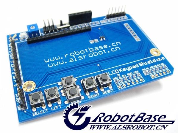 奥松机器人推出的LCD1602字符液晶扩展板v2.0集国内外多款扩展板优点于一体所设计,PCB沉金工艺加工,主板采用2行16个字符液晶,不仅具有对比度调节旋钮、背光灯选择开关,还具4个方向按键、1个选择按键和一个复位按键;4个传感器模拟接口、RB URF v1.1超声波传感器接口、蓝牙模块接口、APC220无线数传模块通信接口、独立扩出更加易用方便。对于Arduino初学者来说,不必为繁琐复杂液晶驱动电路连线而头疼了,这款1602液晶扩展板真正意义上的将电路简化,直接将此板插到控制器上即可,传感器也仅需一
