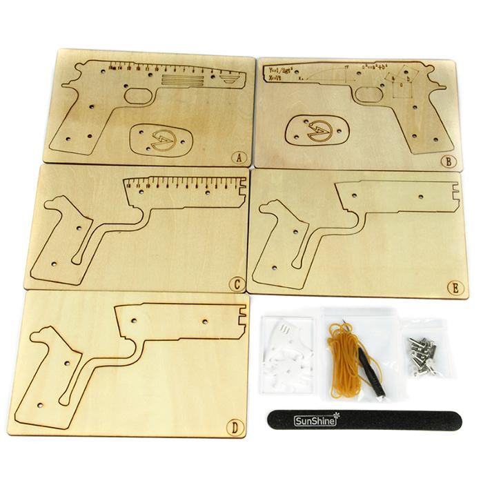 小手枪diy玩具 木质立体拼装模型 儿童益智积木 手工制作拼插套件