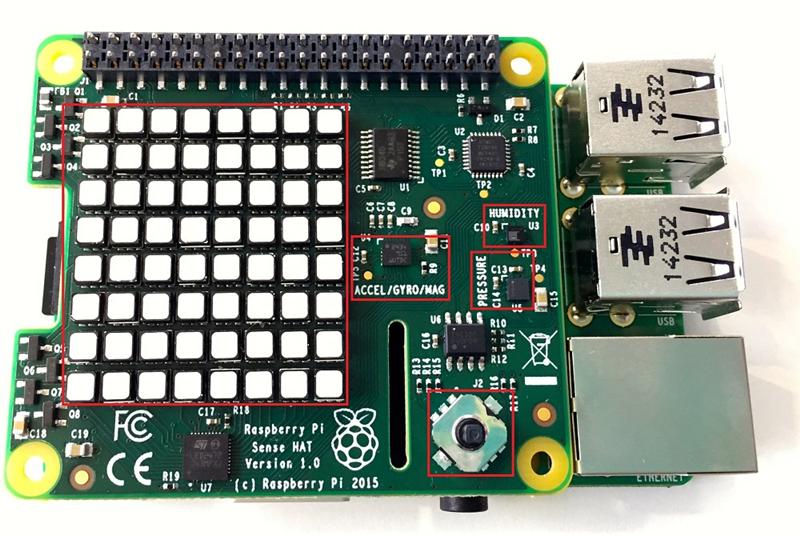 raspberry pi sense hat树莓派扩展板通过树莓派主板40pin gpio接口
