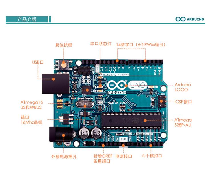 arduino uno r3 控制器 atmega328p-pu atmega16u2 arduino 原装进口