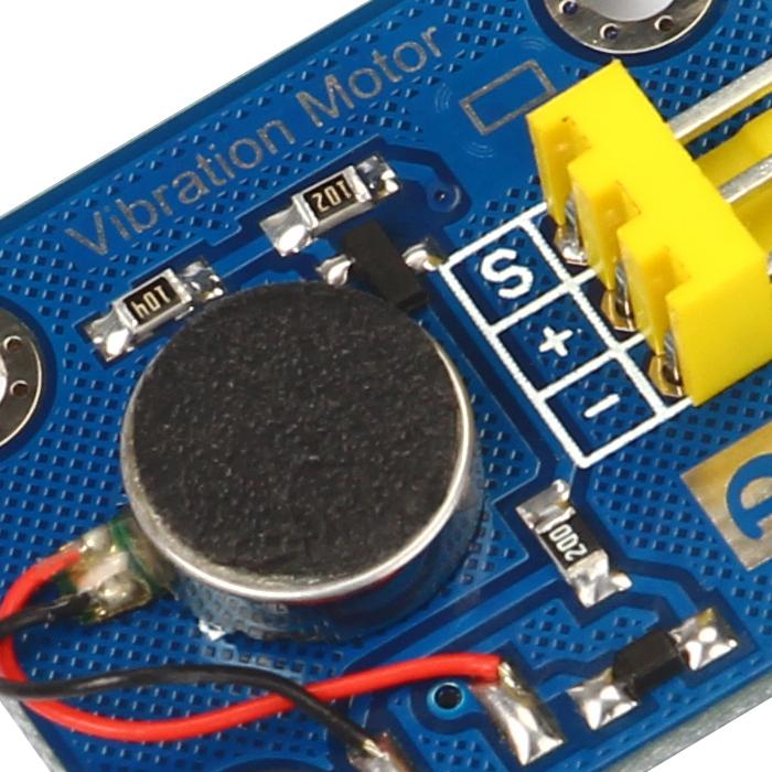 奥松机器人科技有限公司最新推出振动马达,此产品由一个直径10mm高2.7mm的扁平马达和一些基本的电子器件构成。该模块采用3Pin的防插反插头,操作安全,插口旁边有一个大写字母D表示该模块为一个数字型模块,可以通过控制信号的高低来控制马达的振动和关闭,插头另一侧为振动的图片表示。 该模块振动效果和手机振动效果一样,此产品可以应用于一些需要振动的设备上,以及一些小的玩具上面。