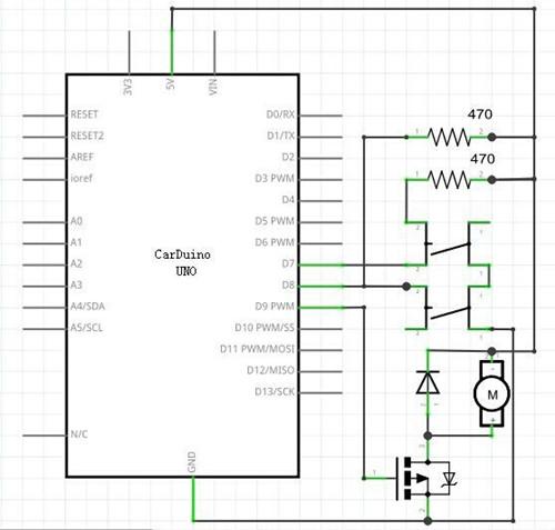 控制电机转速实验面包板接插图
